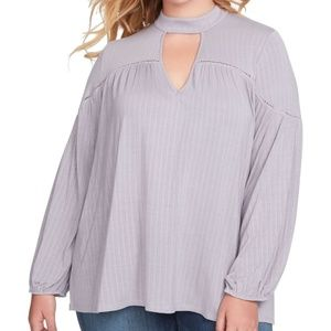 JESSICA SIMPSON LILAC GRAY L/S KNIT TOP SIZE 1X